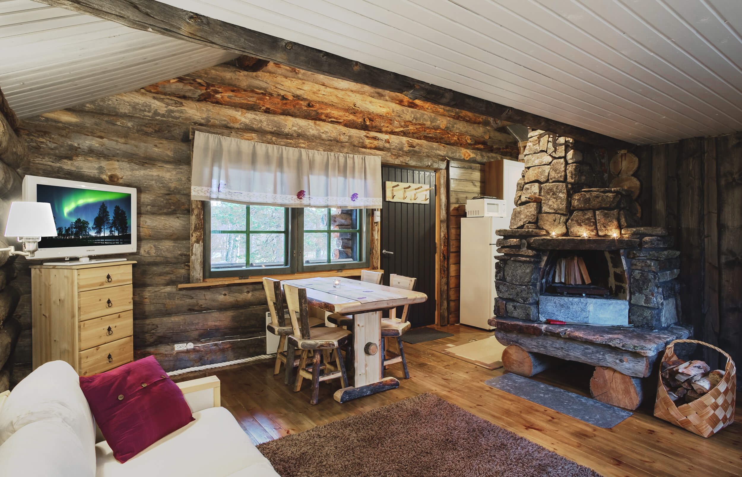 The apartments are furnished with Finnish kelo-wood and natural stone.