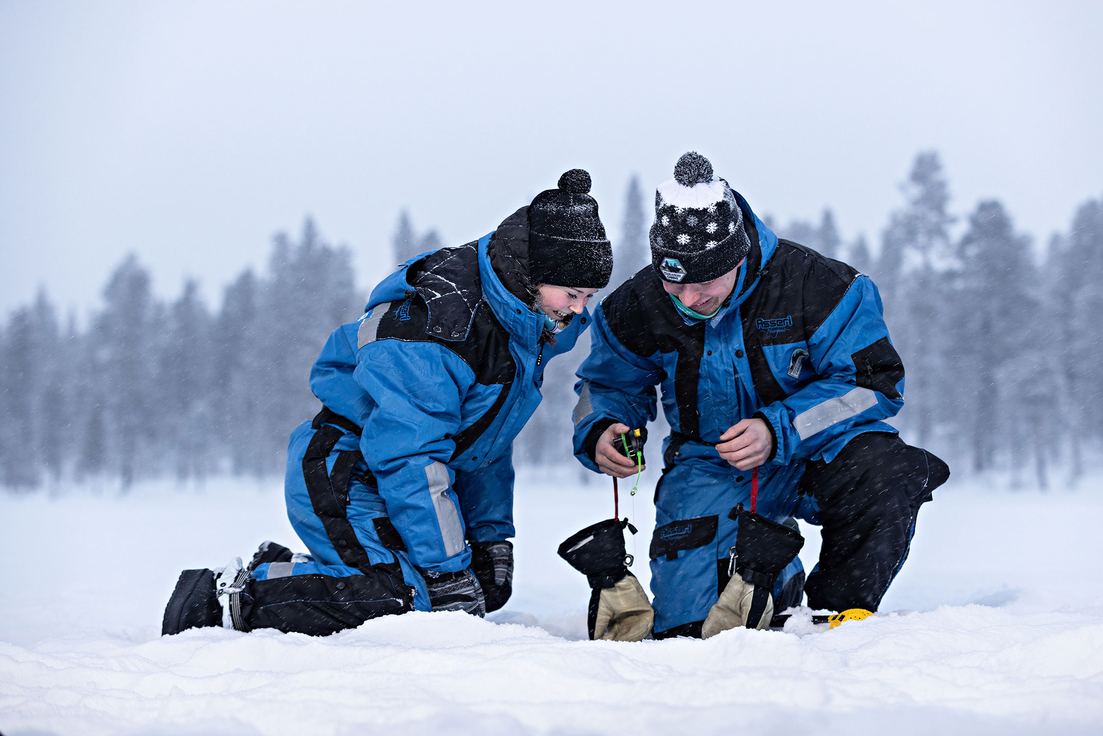 In ice fishing, the first thing to do is drill a hole in the ice.