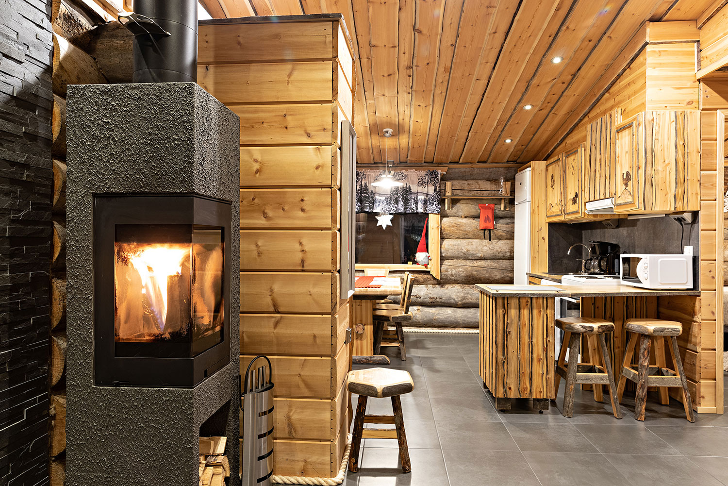 The cabins have a rustic luxury interior.