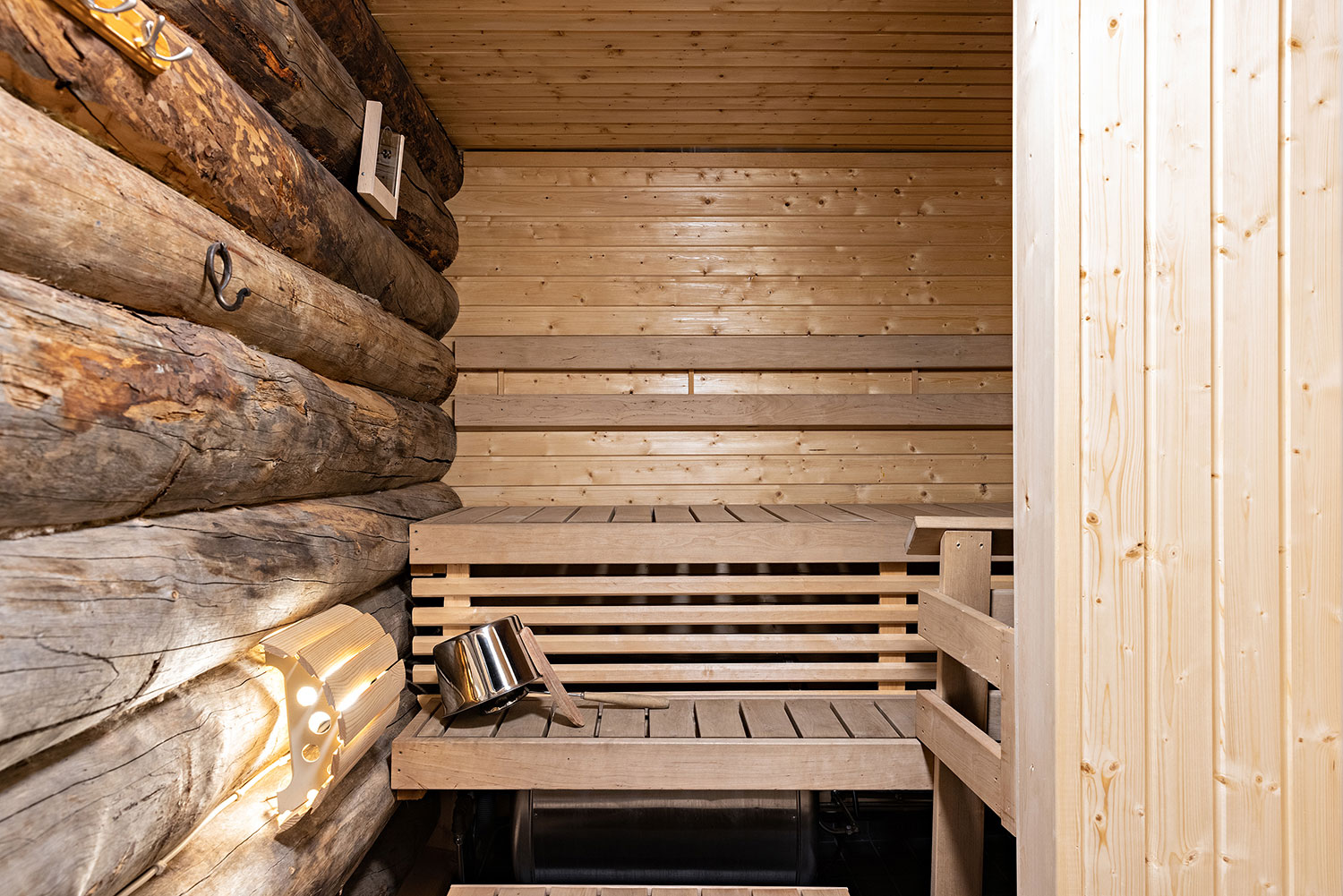 Enjoy the warmth of the traditional Finnish sauna.
